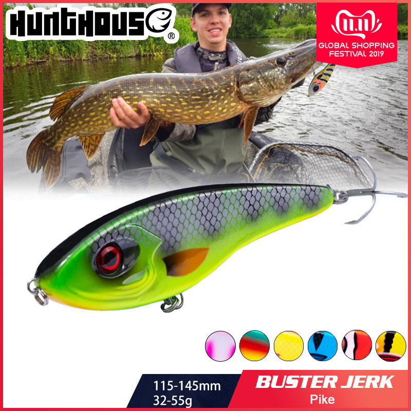 Hunthouse Jerkbait Musky Buster Pike Fishing Lure 11.5/14.5cm 32/52g Jerk VIB Baits Slow Sinking Big Bass Pesca westin-in Fishing Lures from Sports & Entertainment