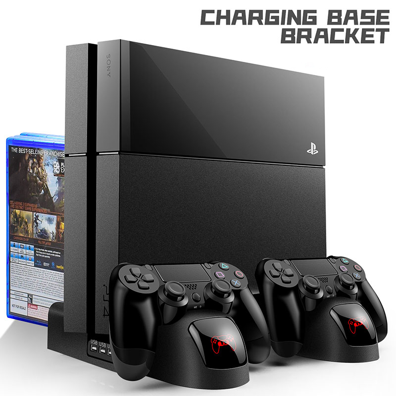 PS4  PS4 Slim  PS4 Pro Cooler Vertical Cooling Stand PS4 Controller Charger Dock Station with LED Indicators 12PCS Games Storage