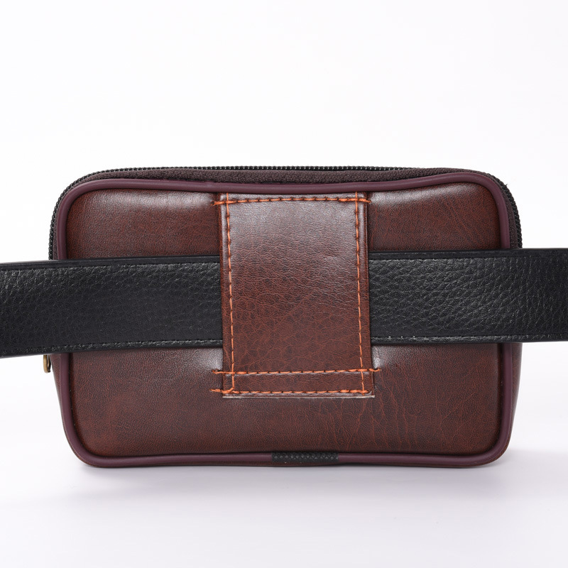 Men Mobile Phone Waist Bag Cross PU Leather Multi-functional Change Key Casual Waterproof Zipper Bag