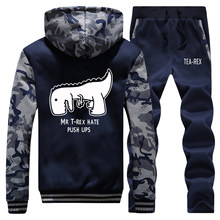 Mooie Dinosaurus Grappige Camo mannen Sets Mr T-Rex Sweatsuit Haat Push Ups Kawaii Jassen 2019 Winter Mode warme Broek Sweatshirt(China)