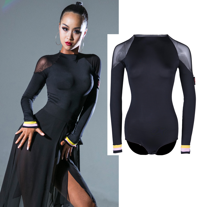 New Latin Dance Dress Sexy Black Long Sleeve Tops Shirts Latin Dance Tops Women Latin Ballroom Dance Competition Dresses DQS2943