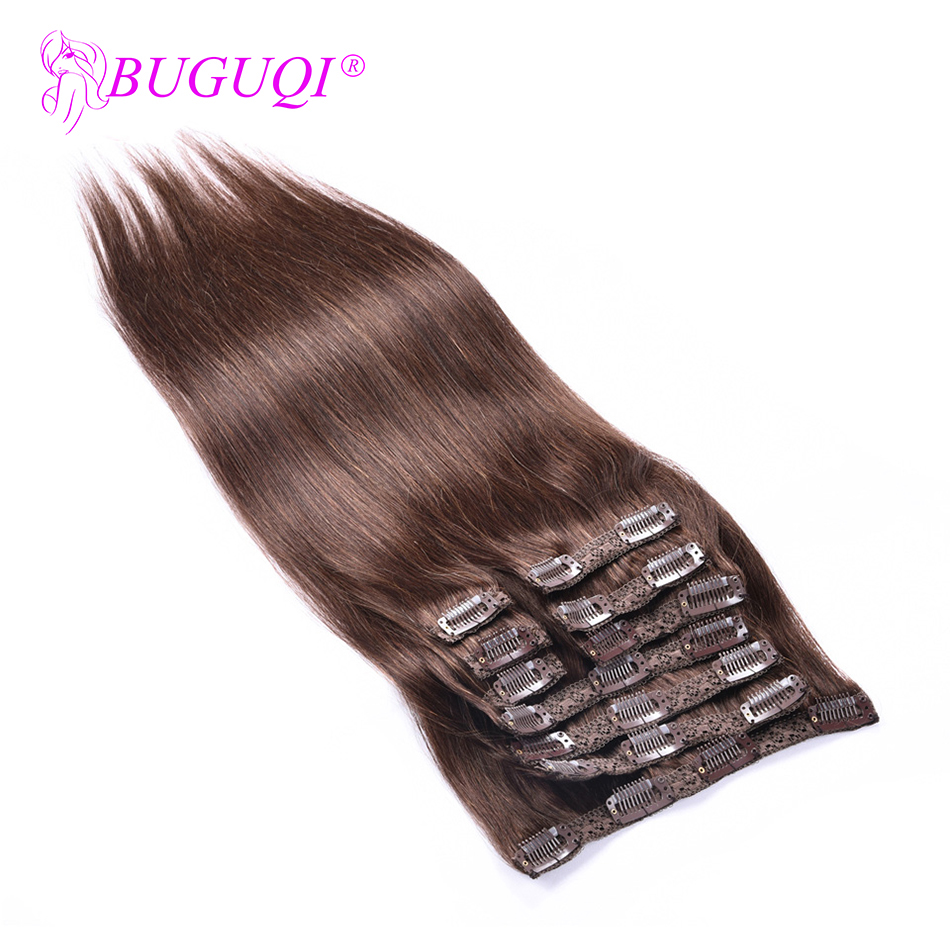 BUGUQI Hair Clip In Human Hair Extensions Peruvian #4 Remy 16- 26 Inch 100g Machine Made Clip Human Hair Extensions