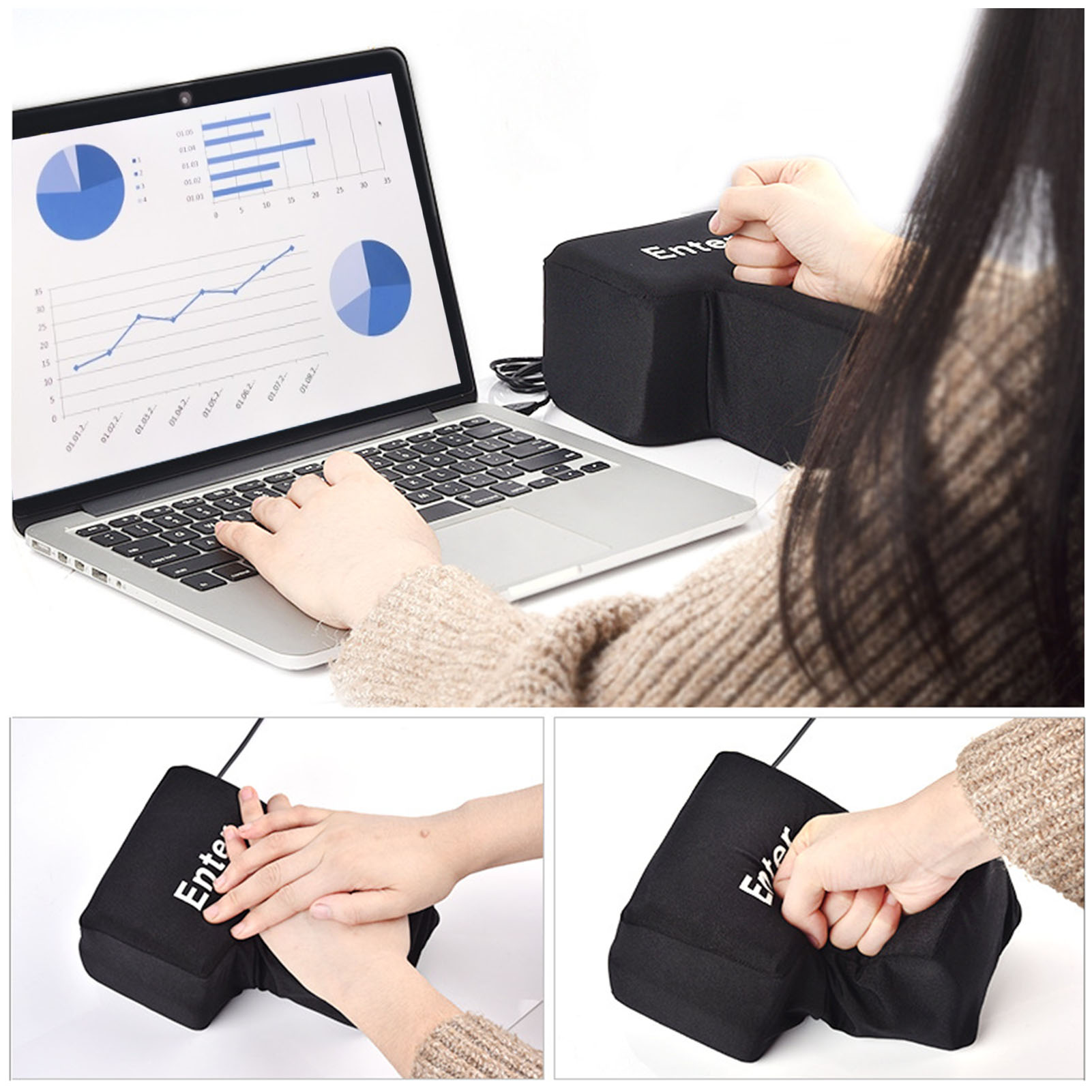 USB Big Enter Key Vent Pillow Soft Computer Button Return Key Office Decompression Desktop Pillow Stress Relief Toy Dropshipping enlarge