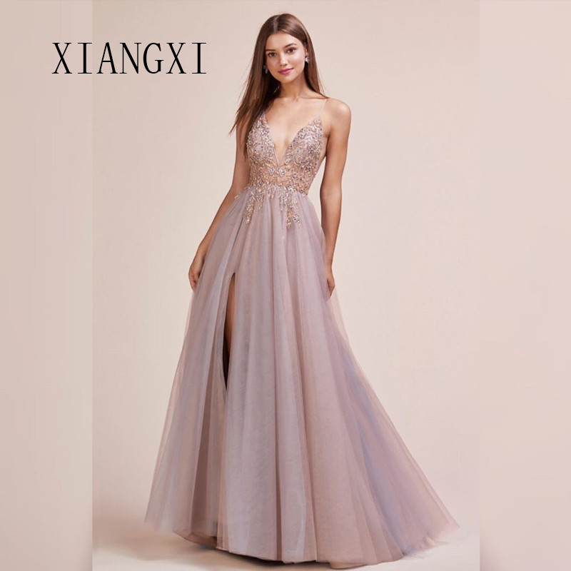 Abendkleider Evening Dresses Long 2020 Tulle A-Line Spaghetti Strap Evening Dress Formal Gowns Robe de soiree Vestido de festa