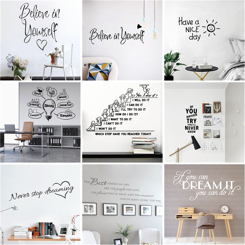 Motivational Large Office Quotes Phrase Vinyl Wall Sticker Decals For Living Room Bedroom Classroom Office Wallpaper Decoration