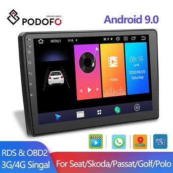 Podofo Android 9.0 2Din Car MP5 Multimedia Video Player GPS WIFI Car Radio Auto Stereo 10''Audio For Seat/Skoda/Passat/Golf/Polo image