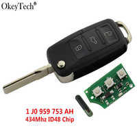 Okeytech 3 Taste Remote Key Flip Folding 434Mhz ID48 Transponder Chip Für VW Golf 4 5 Passat Polo 2000 -2006 1 J0 959 753 AH