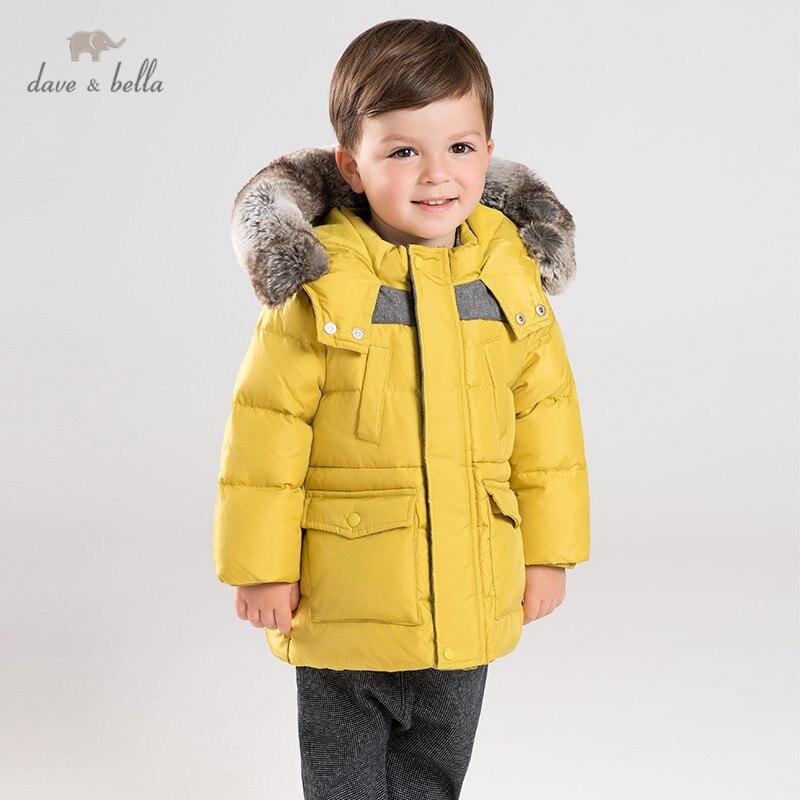 DB11477 dave bella baby boy down jacket children 90% white duck down outerwear fashion light down coat