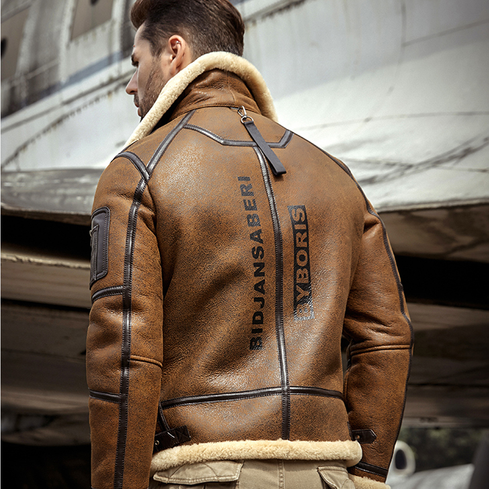 2019 New Mens Shearling Jacket B3 Flight Jacket Sheepskin Aviator Winter Coat Fur Bomber Leather Jacket