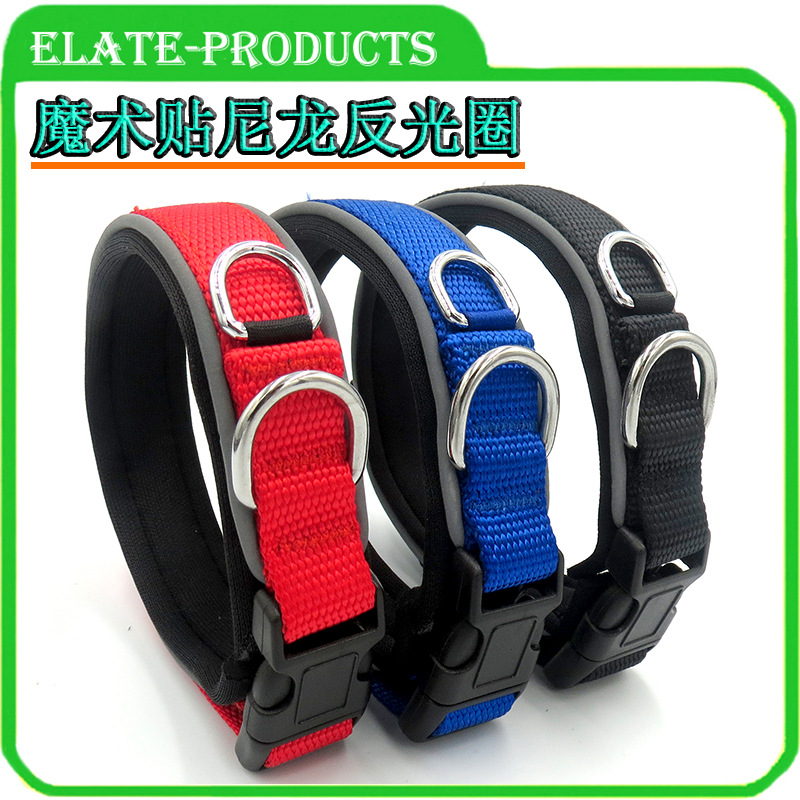 New Style Pet Dog Neck Ring Velcro Adjustable Nylon Reflective Neck Ring Collar