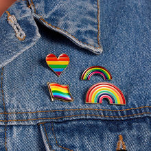 Fashion Rainbow Colorful Small Brooch Pins Pride Badges Lesbian Gay Couple Lapel Brooches For Men Women Clothes Decoration()