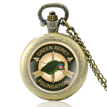 High Quality Vintage Green Beret Foundation Symbo Glass Dome Quartz Pocket Watch Classic Men Women Bronze Necklace Pendant Gifts
