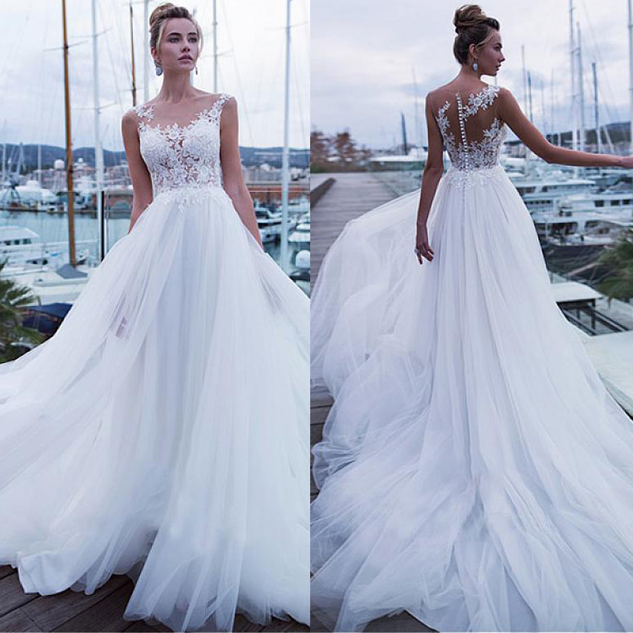 Fantastic Tulle See Through Applique Lace Jewel Neckline A-line Wedding Dresses Elegant Tulle Bridal Dresses