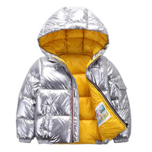 2019 new children space silver down jacket fashion winter clothes boy and girl snow high collar Mengkou Down Jackets Kids