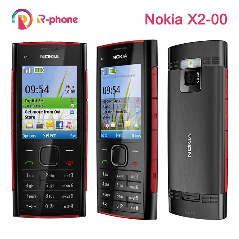 Original nokia X2-00 bluetooth 5mp desbloqueado telefone móvel remodelado x2 venda quente frete grátis
