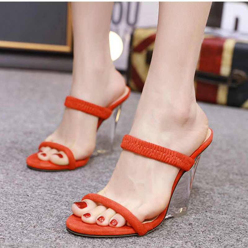 LTARTA ผู้หญิงเซ็กซี่รองเท้าแตะ Wedge Clear รองเท้าส้นสูงคริสตัลลาดเรืองแสงรองเท้าส้นสูงรองเท้าแตะผู้หญิงรองเท้าแตะ 2018 ฤดูร้อน JXQ-996-8
