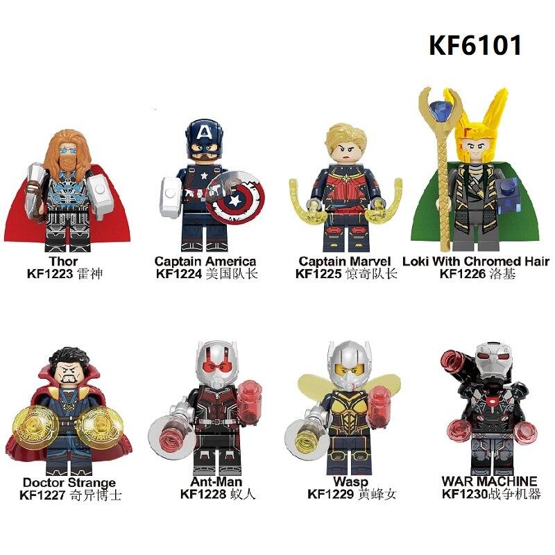 Building Blocks Super Heroes Bricks Thor Captain America Loki Ant-Man Wasp War Machine Figures For Children Toys Learning KF6101