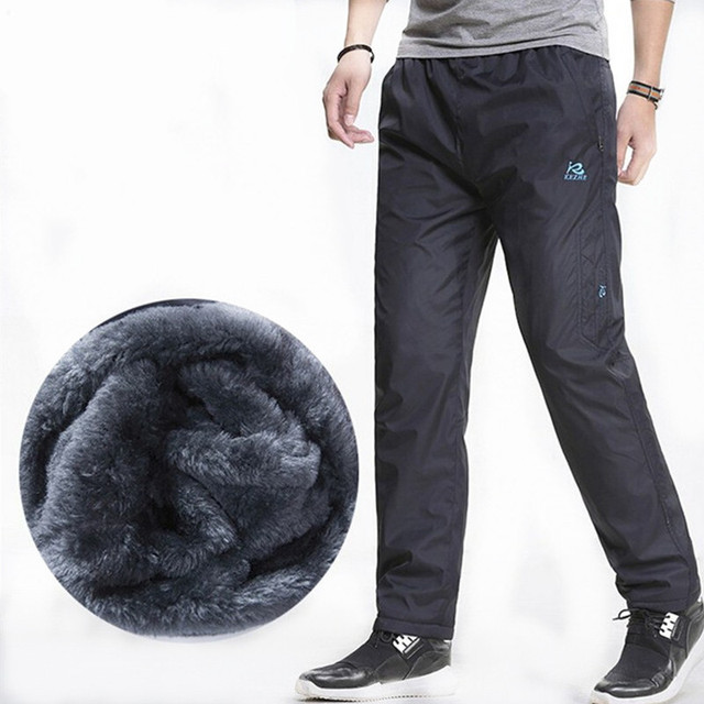 3XL Super warm Winter Fleece Thicken Men's casual Pants Heavyweight Men's Trousers Winter Waterproof Slim Fitted Sweatpants 4