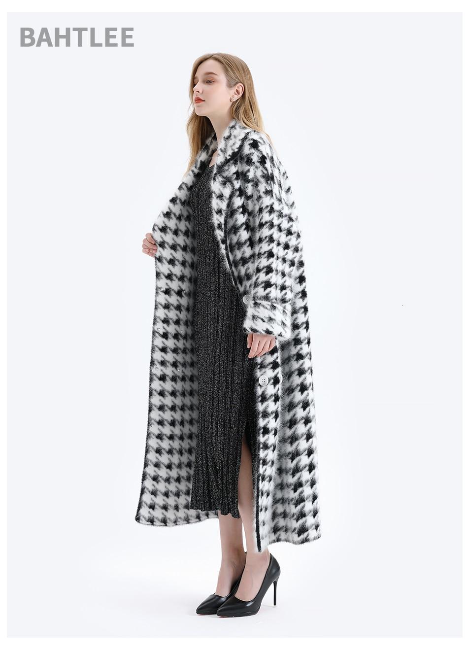 BAHTLEE Women Angora Long Coat Houndstooth Pattern Sweater Winter Wool Knitted Cardigans Jumper Turn Down Collar Long Sleeves 7