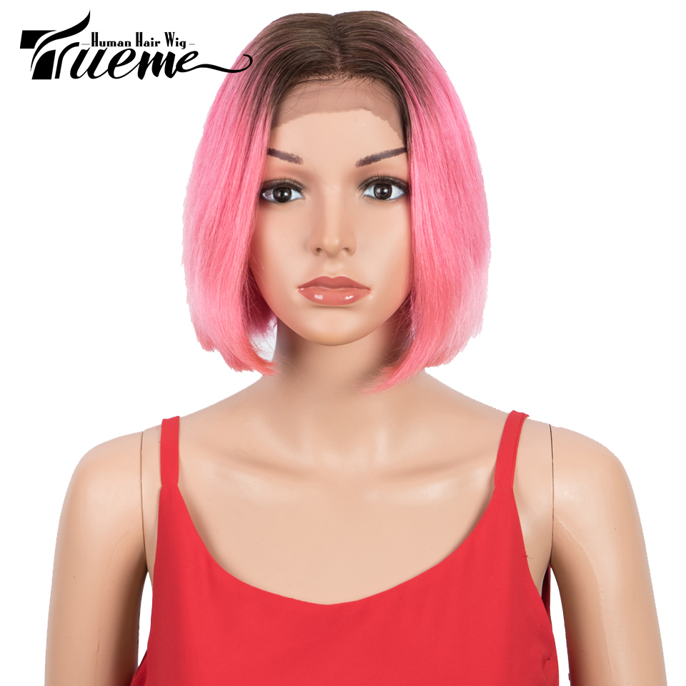 Trueme Ombre Pink Short Bob Middle Part Lace Wig Brazilian Virgin Straight Lace Front Human Hair Wigs For Women 8 Inch Red Wig