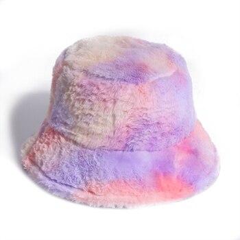 FOXMOTHER-Sombrero de piel sintética rosa para mujer y niña, tinte de lazo de arcoíris, suave y cálido, pescador de gorra, Gorros, regalos de invierno para mujer