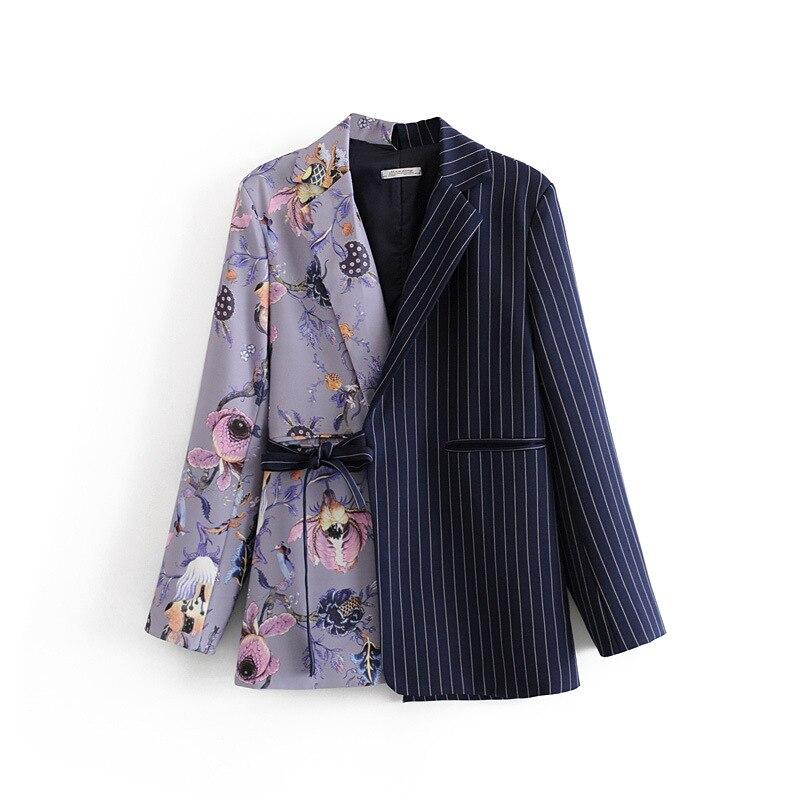 Autumn Womens Chic Floral Patchwork Striped Print Slim Waist Blazer Outwear Tops