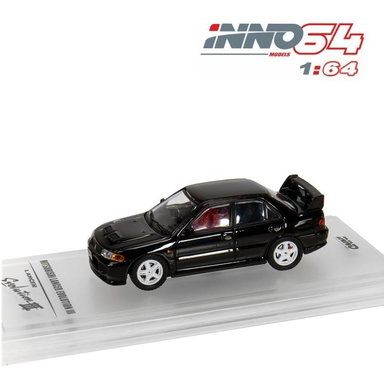 INNO64 1:64 Mitsubishi LANCER GSR EVO III 1995 Black Diecast Model Car