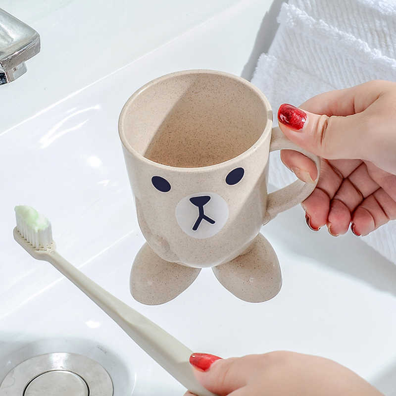 Lovely Wheat Straw Cartoon Animal Toothbrush Cup Tumbler Mouthwash Travel portable Toothbrush Holder Home Bathroom accessories