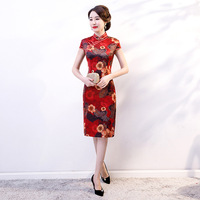 Chinese Lady Summer Dress Vintage Mandarin Collar Satin Cheongsam Vestidos Print Elegant Wedding Party Qipao
