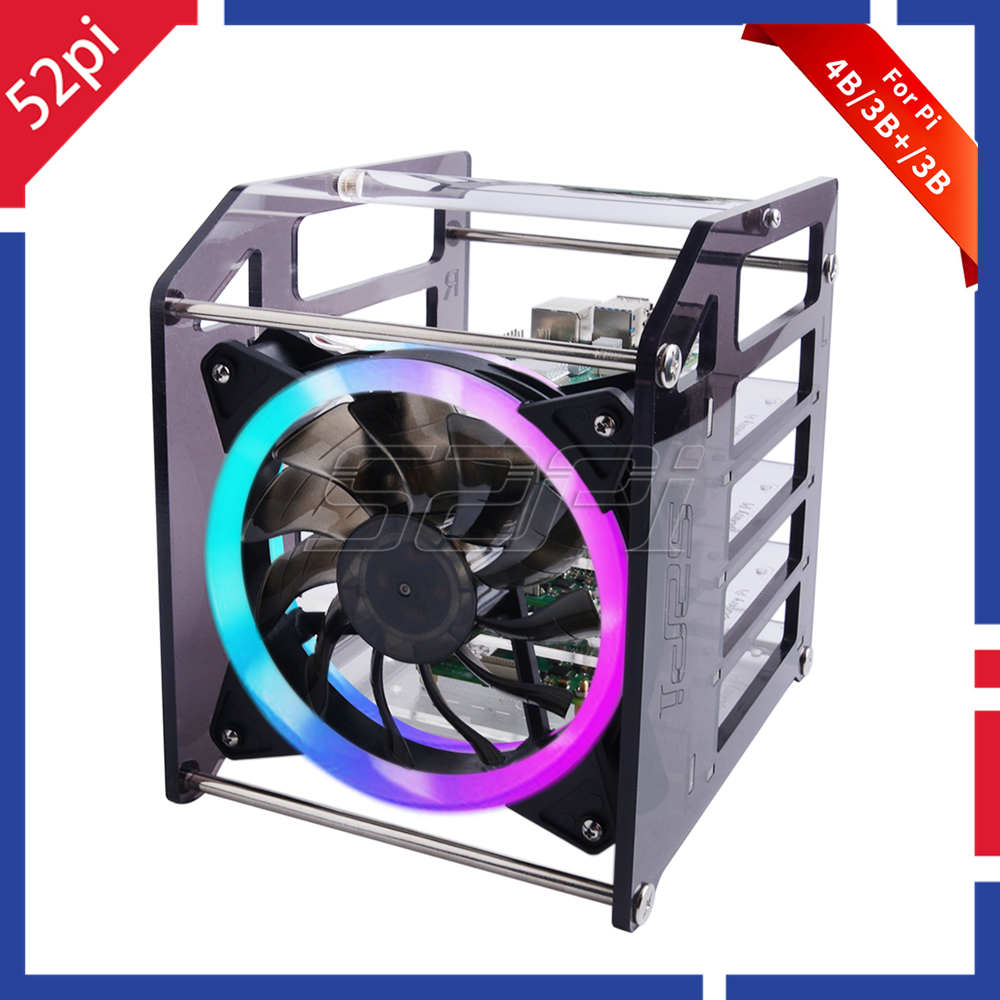 52Pi Rack Tower 4 Layer Acrylic Cluster Case Large Cooling Fan LED RGB Light for Raspberry Pi 4 B / 3 B + / 3 B / Jetson Nano