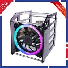 52Pi Rack Tower 4 Layer Acrylic Cluster Case Large Cooling Fan LED RGB Light for Raspberry Pi B / 3 + Jetson Nano