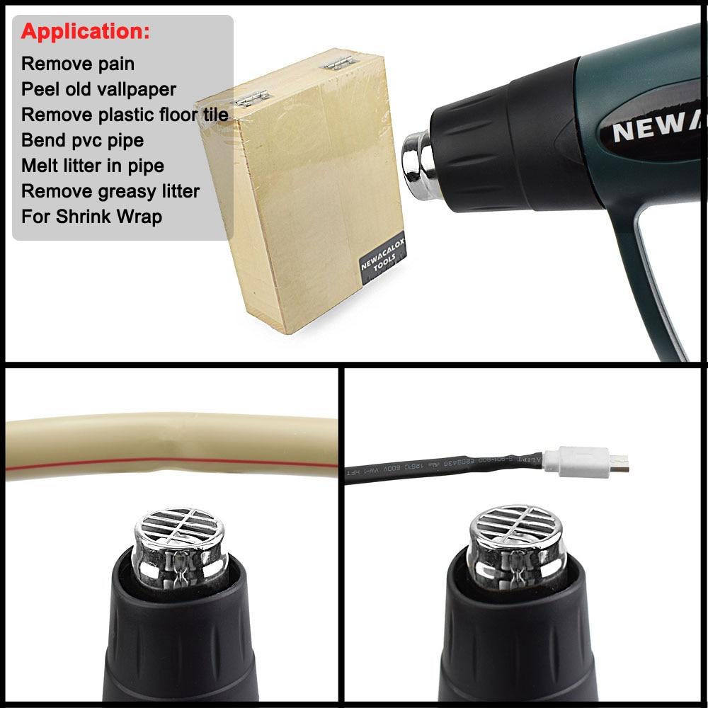 Tools : NEWACALOX 220V2000W industrial electric heat gun EU plug multiple nozzle LCD display hot air shrink packaging
