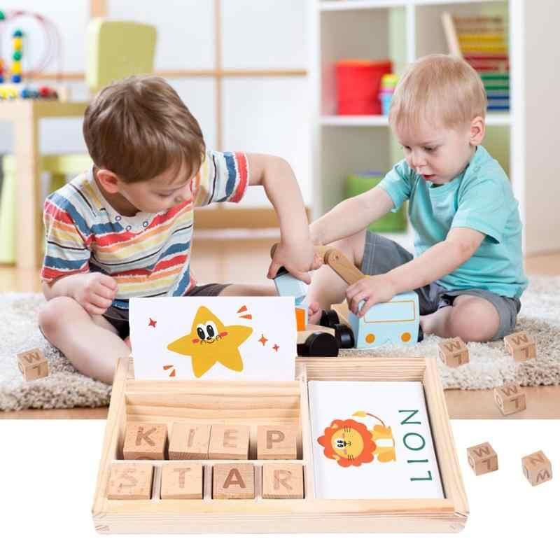 Rompecabezas de madera con letras de aprendizaje cognitivo, juego de cartas con alfabeto inglés, juguete educativo para edades tempranas