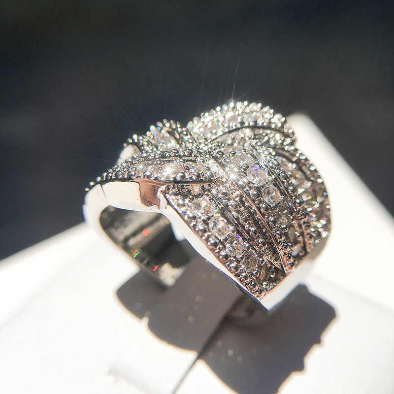 925 แหวนเงิน Knot Eternity หมั้นงานแต่งงานแหวนยุโรปส่วนหมุน curve สไตล์ Cubic Zircon แหวนผู้หญิง