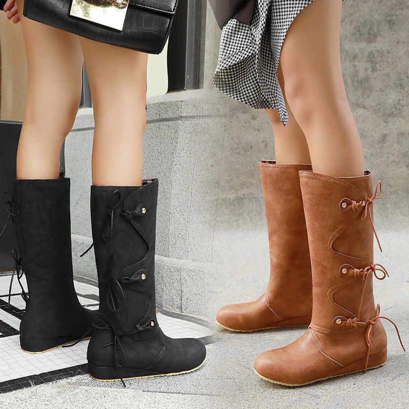 Odetina ผู้หญิง Wedge รองเท้าส้นสูง Retro กลางลูกวัวรองเท้าผู้หญิง Cross-tied ฤดูหนาว Vintage Lace Up รอบ Toe รองเท้าฤดูใบไม้ร่วง