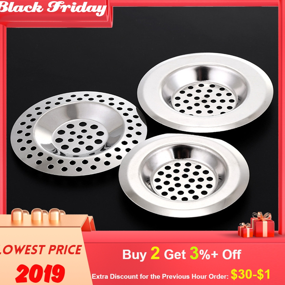 Kitchen Water Kitchen Washable Reusable Solid Silver Stainless Sink Strainer Cover Floor Drain Plug Bath Catcher Drain Plug #or