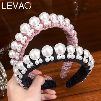 Levao Ruched Pearl Headband Velvet Twist Hairband for Women Hair Accessories Elegant Hair Hoop Head Bands Bezel Girls Headwear