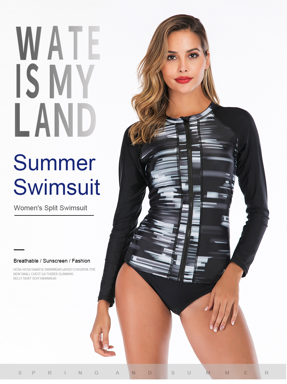 Women rashguard Sunshade UV Protection Swimwear Patchwork Long Sleeve Two Piece Swimsuit Beach Surfing Diving Bathing Suit XXL