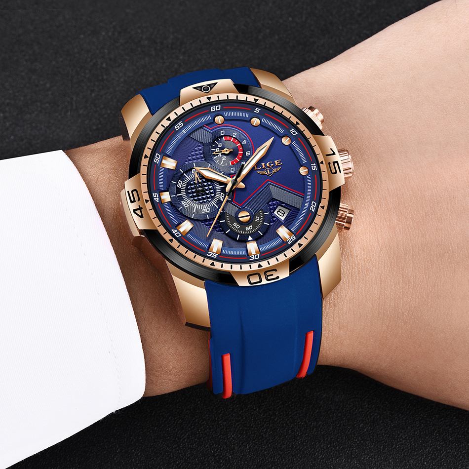 H8563d6a647f34532b55740dce38d643e4 2020 LIGE Sport Watch Men Brand Luxury Chronograph Silicone Strap Quartz Mens Watches Waterproof Clock Relogio Masculino+Box