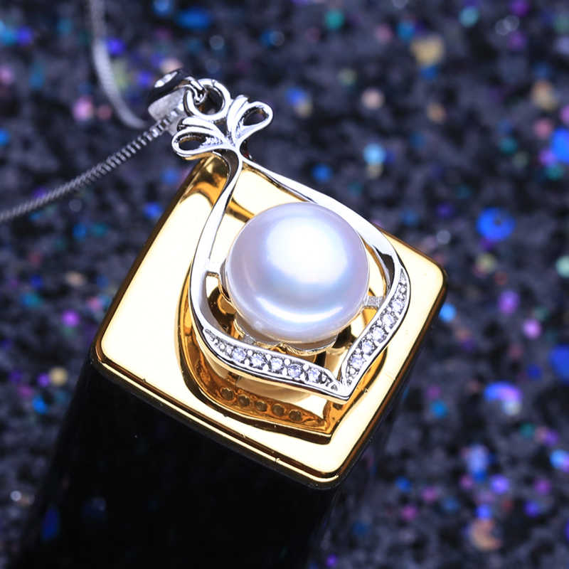 FENASY 925 Ciondolo In Argento Sterling Collana Naturale Set Gioielli Di Perle Per Le Donne Classic Orecchini Con Perno di Modo Del Partito Anelli