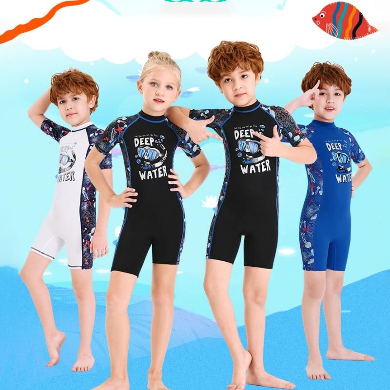 Kids One-piece Swim Siamese Short Sleeves Warm Swimsuit Neoprene Kids Diving Suit Wetsuit Children For Boys Girls