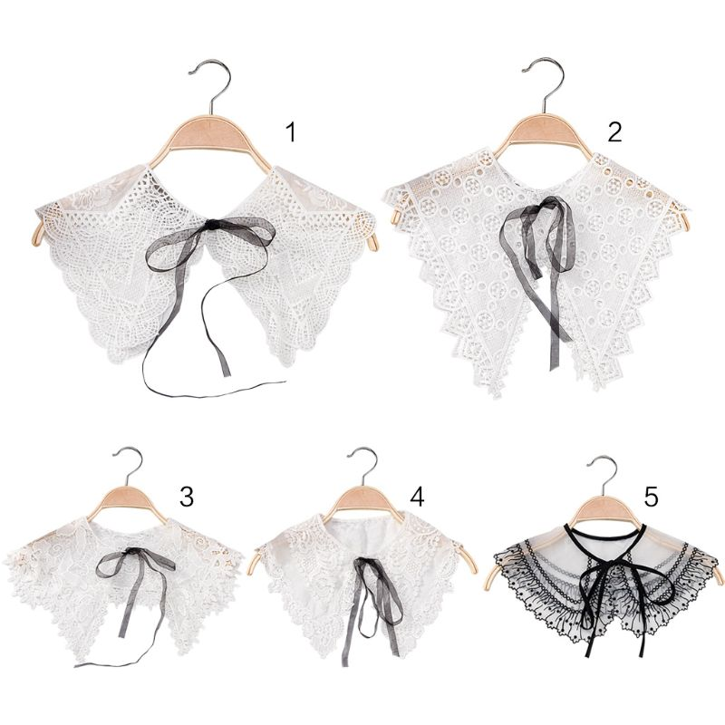 Korean Women Girl Lace Up Bowtie Fake Collar Hollow Out Crochet Floral Lace Chiffon Choker Blouse Dress Sweater Decorative Shawl