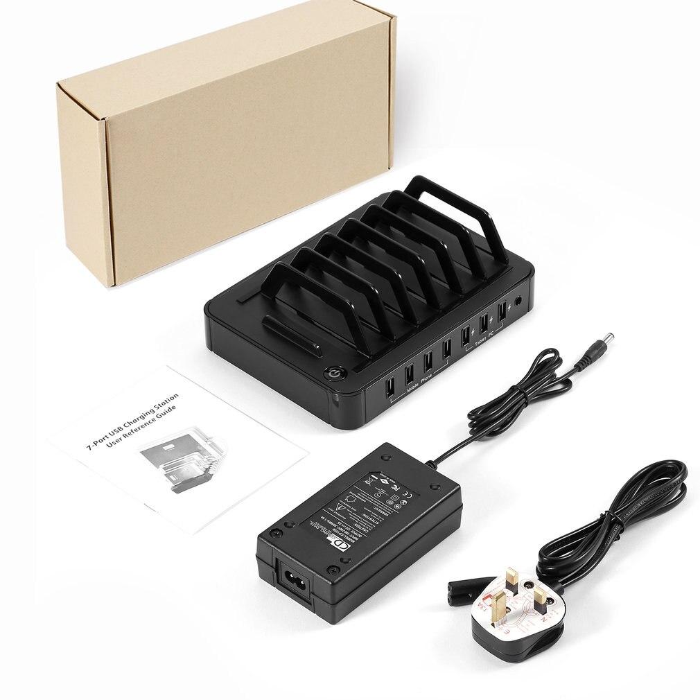 S762 Station de recharge USB universelle à 7 ports chargeur rapide USB avec adaptateur secteur 60W pour tablettes Smartphones