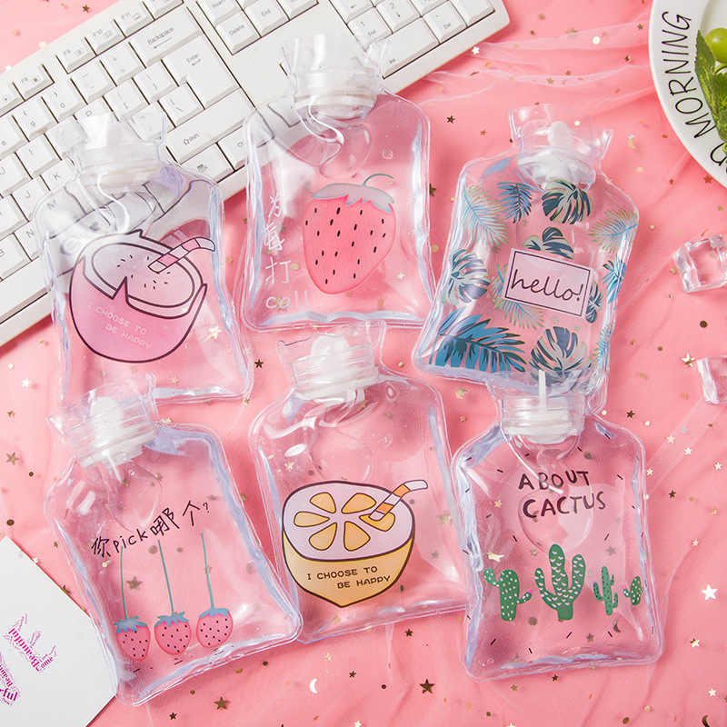 Kartun Reusable Ice Pack Cute Mini Transparan Botol Air Panas Kecil Portable Tangan Hangat Pendingin Air Dingin Dingin Es Tas