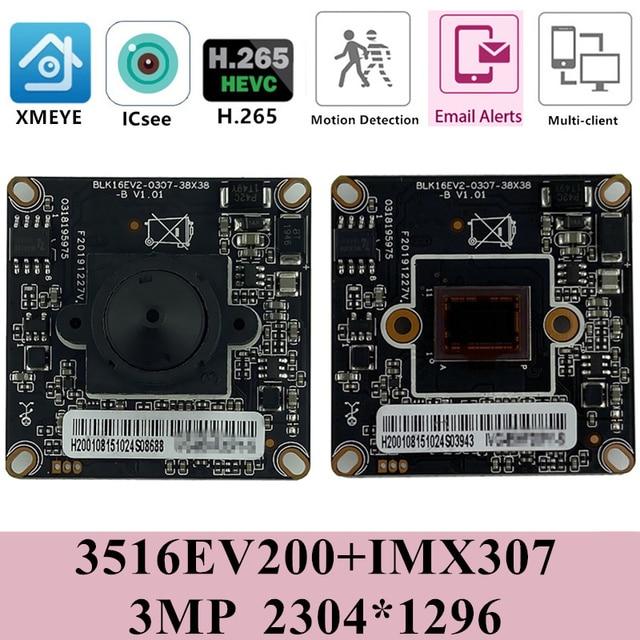 StarLight Sony IMX307+3516EV200 H.265 HD IP Camera Module Board Mini Lens 3.7mm 3MP Low illumination ONVIF CMS XMEYE RTSP