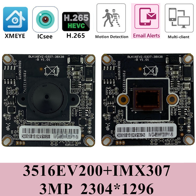 Sternenlicht Sony IMX307 + 3516EV200 H.265 HD IP Kamera Modul Bord Mini Objektiv 3,7mm 3MP Geringe beleuchtung ONVIF CMS XMEYE RTSP