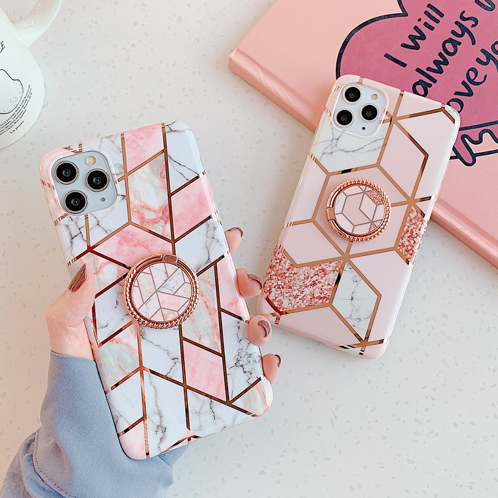 Electroplated Geometric Marble Phone Case For Samsung Galaxy S20 A50 A51 S10 S9 S8 Plus S10e Ring Holder Soft Back Cover