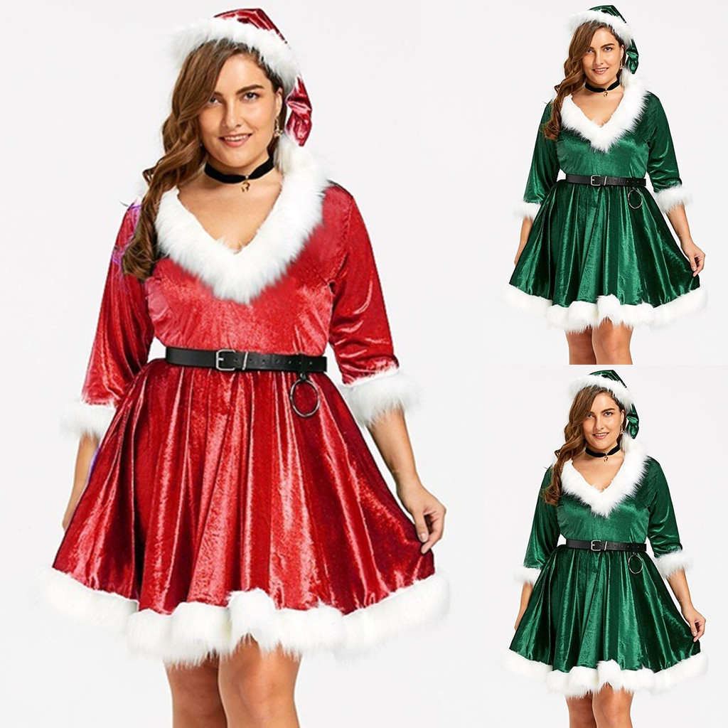 sexy dress women christmas dress Solid V-neck Long Sleeve Velvet Terry Mini winter dress+Belt+Hat Plus Size ropa mujer vestidos