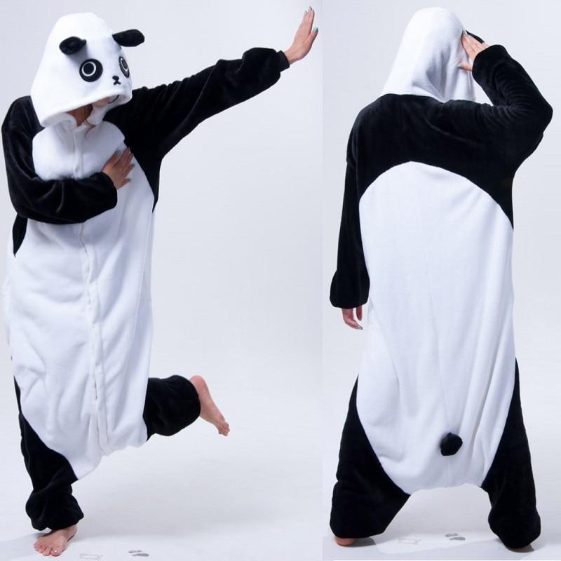 Kigurumi panda long sleeve hood onesie men women flannel warm panda pajama  Whole onepiece adult
