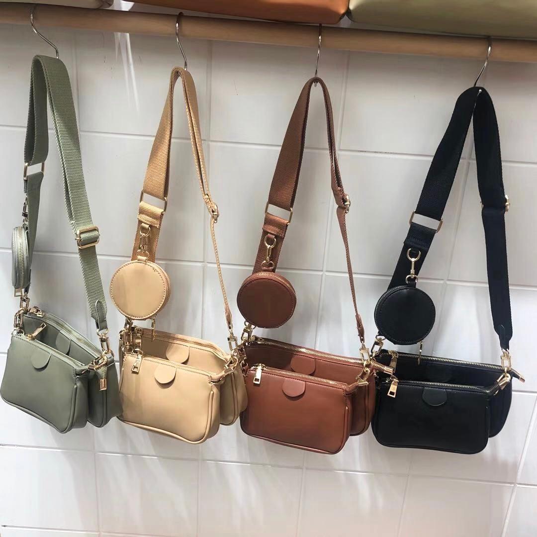 Fashion Solid Color PU Leather Shoulder Messenger Bag Casual Crossbody Bags Women Handbags Totes Bag 3 Sets Evening Clutch Purse